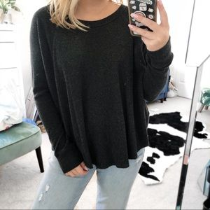 Free people we the free grey ribbed long sleeve